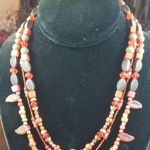 Red Art Glass and Acrylic Bead Necklace & Earrings